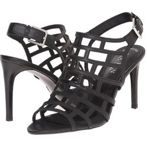 Ralph Lauren Black Sandra Leather Heel Sandals